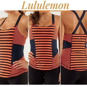 Lululemon stripe work it out athletic tank top xs